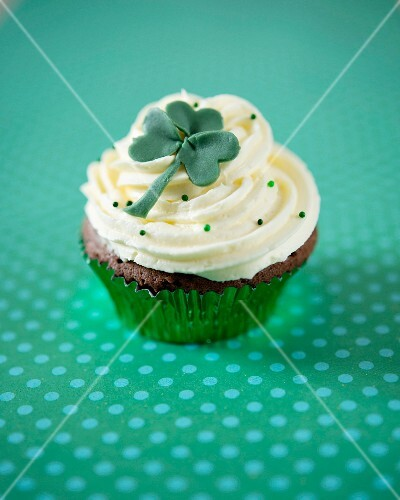 A chocolate and Guinness St Patrick's Day cupcake