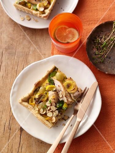 Leek and hazelnut tart with rabbit fillet