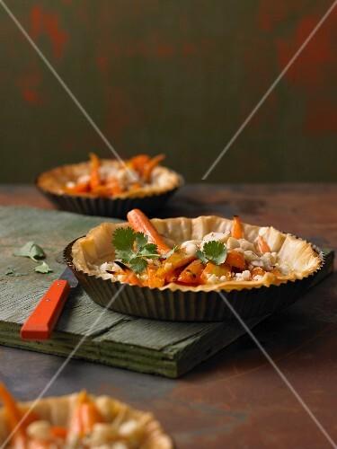 Macadamia and carrot tart