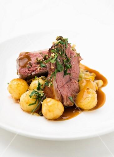 Beef with roast potatoes