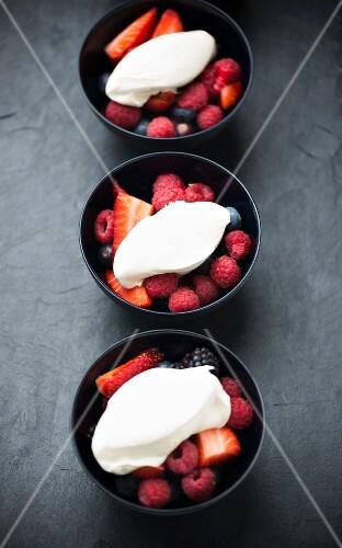 Fresh berries with cream