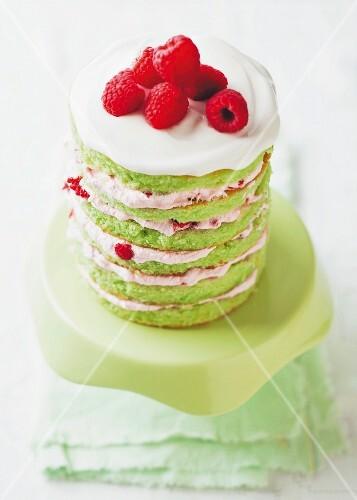 Raspberry and lime cake