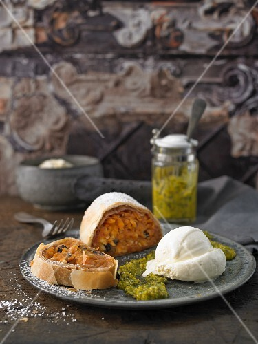 Apple and pumpkin strudel with mascarpone ice cream and sweet pumpkin seed pesto