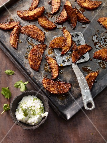 Baked turnip wedges with mint yoghurt