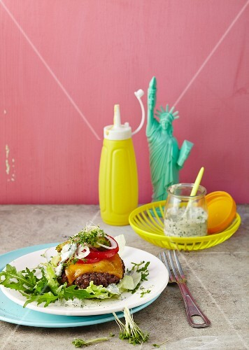 A breadless burger with herb remoulade