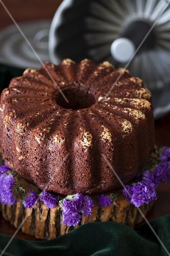 Chocolate orange cake with beetroot, honey, chia seeds and spelt flour