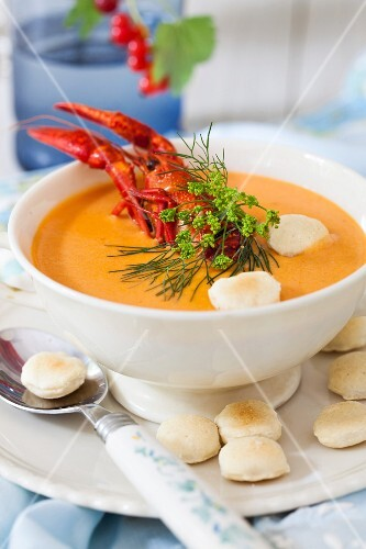 Lobster bisque with oyster crackers