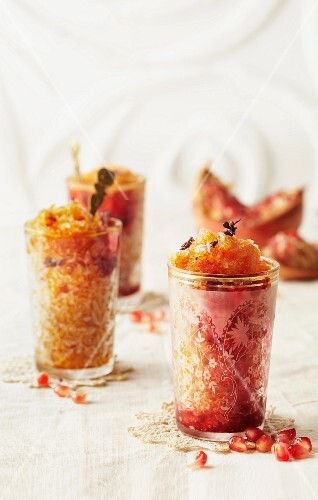 Pomegranate granita in oriental glases