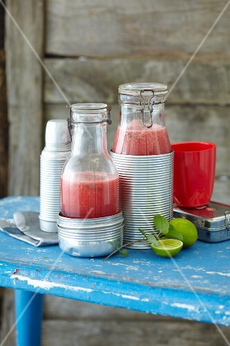 Ice-cold melon drinks