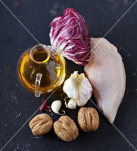 Ingredients for chicken breast with braised radicchio