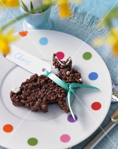 A chocolate rice crispy bunny