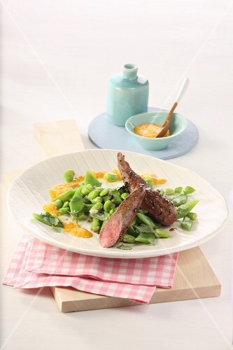 Fillet of hare on a bean medley with a mustard dip