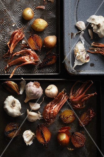 Garlic and onions being roasted