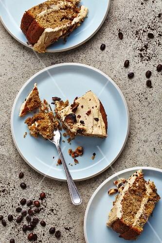 Nut sponge cake with mocha cream
