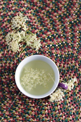 A cup of elderflower tea