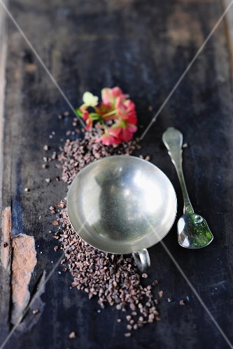 A vintage ice cream bowl, a spoon and cocoa nibs
