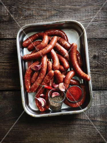Merguez (North African sausages) on a baking tray