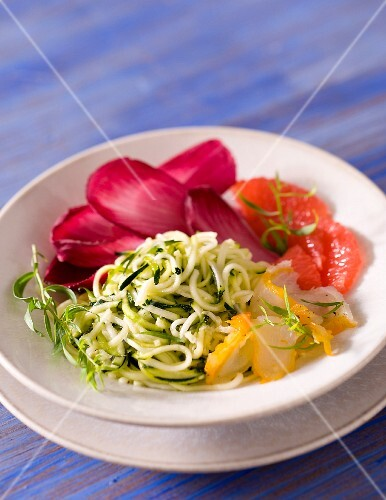 Courgette salad with smoked haddock, pink grapefruit and radicchio