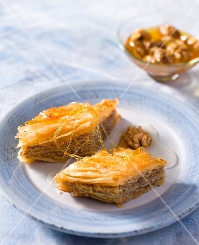 Baklava with walnuts