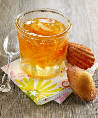 Madeleines and a jar of orange marmalade