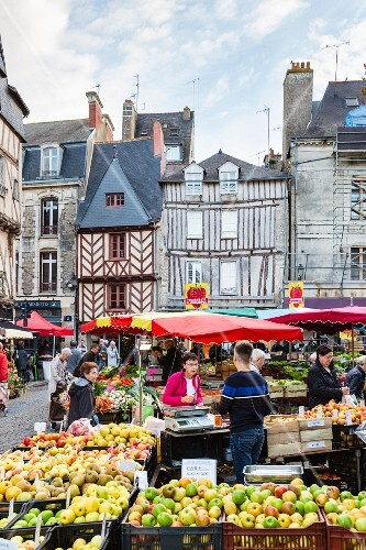 A weekly market at Vannes, Brittany, France