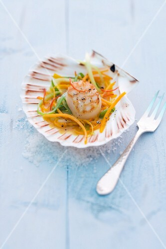 Fred scallops on pumpkin salad