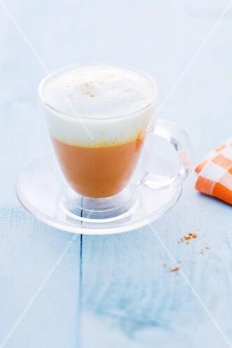 Pumpkin soup with milk foam