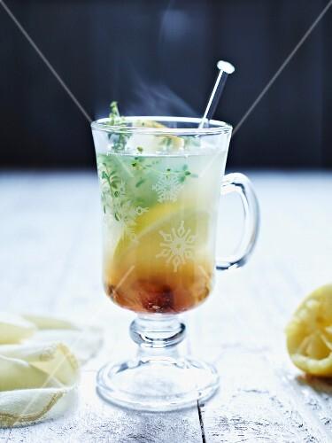Hot lemon with ginger and lemon thyme