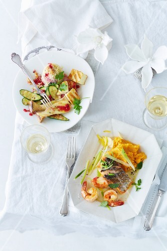 Salmon and prawns with mashed sweet potatoes and oranges, and millet tartlets with haloumi and king trumpet mushrooms (Christmas)