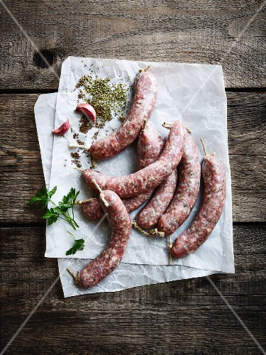 Sausages on a piece of paper