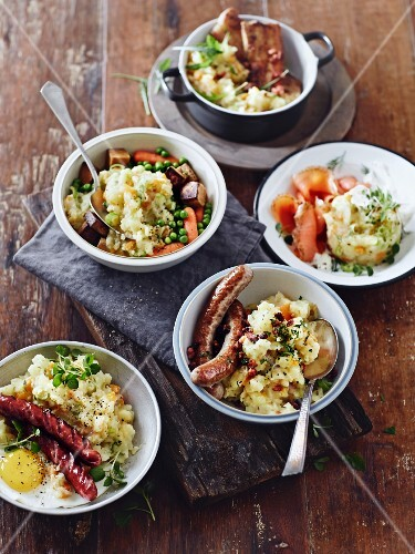 Various mashed potato dishes with sausages