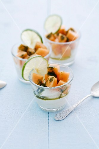 Melon and lime cream with fresh fruit