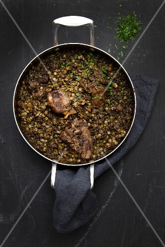 Lentil stew with meat (seen from above)