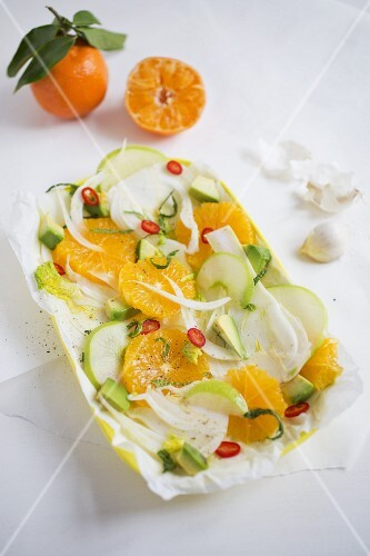 Orange and fennel salad with avocado, chilli, Granny Smith apples, garlic and mint