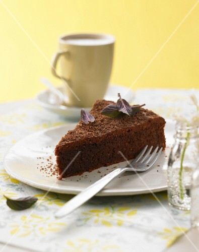A slice of sweet beetroot chocolate cake with chocolate mint
