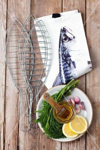 Ingredients for grilled fish