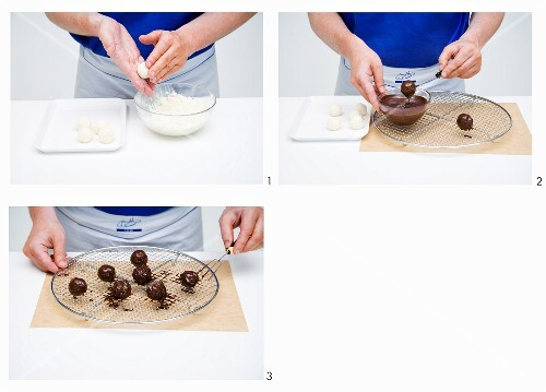 Rice pudding truffles being made