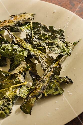 Oven-baked kale leaves with oil, vinegar and salt