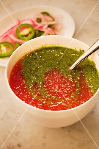 Watermelon and tomato gazpacho with onions and jalapeños