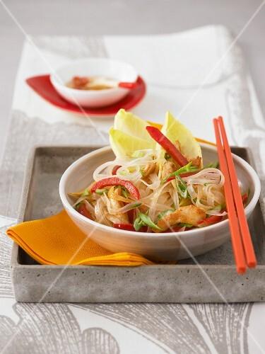 Warm glass noodle salad