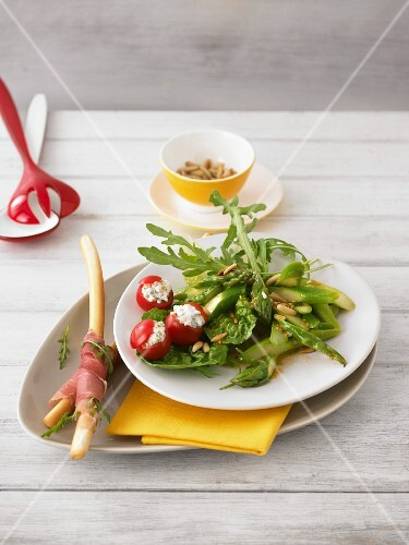 Asparagus salad with stuffed cherry tomatoes