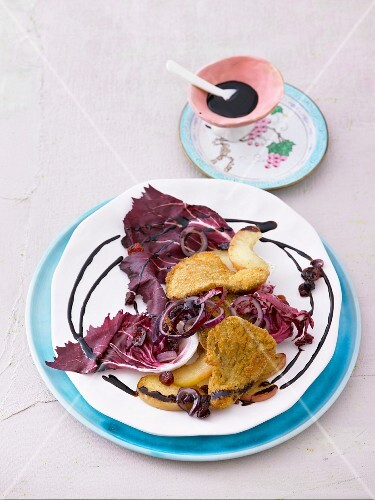 Fried oyster mushrooms with radicchio