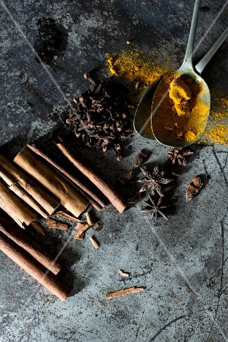 An arrangement of various spices