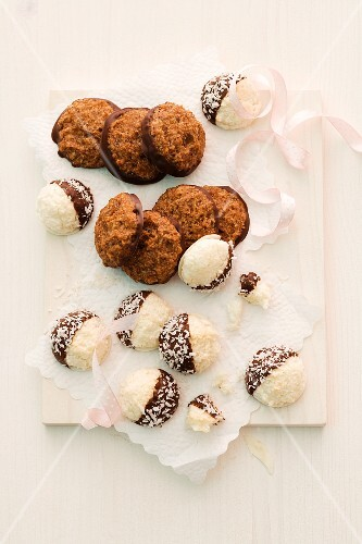Brown and white coconut macaroons for Christmas