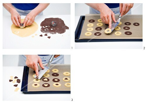 Black-and-white Christmas biscuits being made