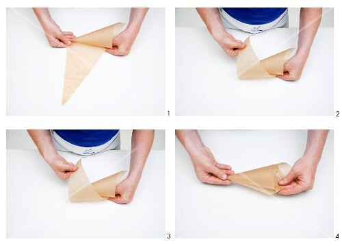 A bag being made from baking paper
