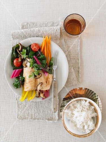 Pangasius fillet with shiitake mushrooms and Thai vegetables