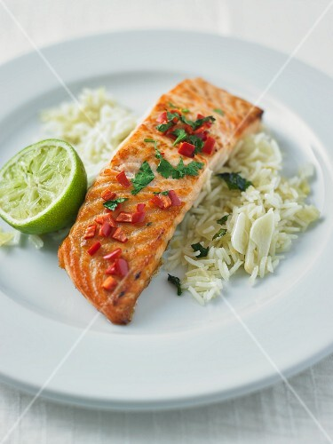 Grilled salmon with chilli and coriander on a bed of rice