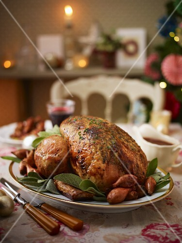 Roast turkey with shallots and sage for Christmas