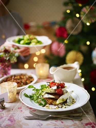 Christmas dinner with side dishes